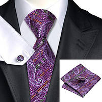Галстук мужской фиолетовый в оранжевую и зеленую полоску JASON&VOGUE