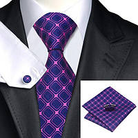 Галстук мужской темно-синий с розовым фуксия JASON&VOGUE