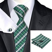 Подарочный мужской набор зеленый в клетку с белым и синим JASON&VOGUE