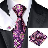 Галстук мужской фуксия с льняным в абстракциях + платок и запонки JASON&VOGUE