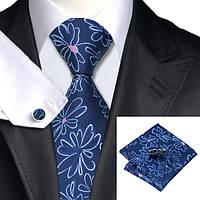 Подарочный мужской галстук синий в цветок JASON&VOGUE
