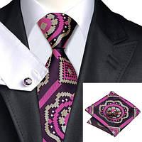 Галстук мужской фуксия с хаки в абстракциях + платок и запонки JASON&VOGUE