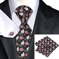 Галстук мужской в цветах с листьями  -  коричневый + платок и запонки JASON&VOGUE