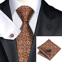 Подарочный мужской набор коричневый в ромбик и цветок JASON&VOGUE