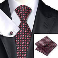 Подарочный мужской набор черный с красным и коричневым горошком  JASON&VOGUE