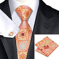 Оранжевый мужской галстук с запонками и платком JASON&VOGUE