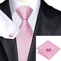 Галстук мужской розовый с белым в абстракциях + платок и запонки JASON&VOGUE