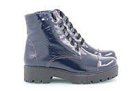 Зимние ботинки   лаковые кожаные синие