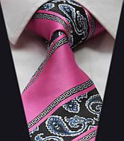 Галстук мужской розовый с синим и белым в абстракциях 2013 D&T