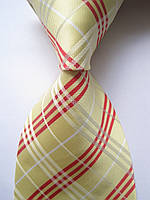 Галстук мужской лимонный с красными и белыми полосочками в стиле Burrbery KAILONG