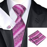 Галстук мужской фуксия в полоску и абстракциями +запонки и платок  JASON&VOGUE