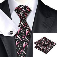 Подарочный мужской набор черный с розовыми цветками JASON&VOGUE