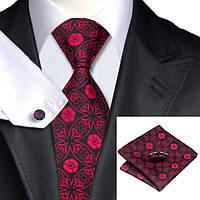 Подарочный мужской набор черный с красным цветком JASON&VOGUE