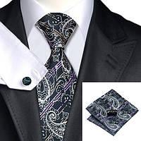 Галстук мужской черный с фиолетовым и белым JASON&VOGUE