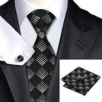 Подарочный мужской набор черный с белыми ромбиками 8.5 JASON&VOGUE