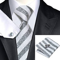 Галстук мужской подарочный черный с белым JASON&VOGUE