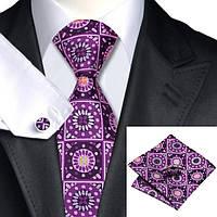 Галстук мужской подарочный фиолетовый в узорах JASON&VOGUE