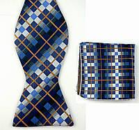 Галстук-бабочка мужская синяя в клетку с коричневым+платок