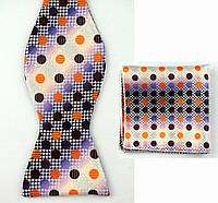 Галстук бабочка мужская в горошек с оранжевым и фиолетовым + платком