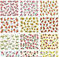 Водные Наклейки для ногтей лист 1833 цветочки