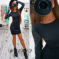 Облегающее  клубное платье  с рукавами экокожа !, фото 1