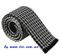 Галстук мужской вязаный черно-белый в оригинальном узоре Bow Tie House™