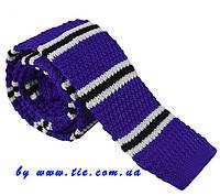 Галстук мужской вязаный фиолетовый в черно-белую полосочку Bow Tie House™