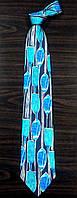 Галстук мужской бирюзовый с синим в рисунках ALSTOM