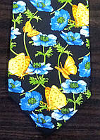 Галстук мужской с рисунком цветков с бабочками ALSTOM
