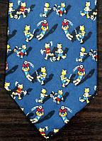 Галстук мужской синий с мишками играющими футбол ALSTOM