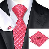 Галстук мужской ализариновый красный в ромбик +платок и запонки JASON&VOGUE