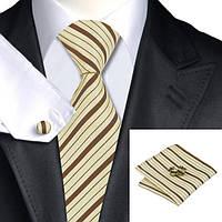 Подарочный мужской набор льняной с коричневым в полоску JASON&VOGUE