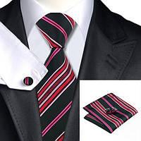 Подарочный мужской галстук черный в красно-розовую полоску JASON&VOGUE