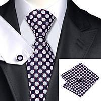 Подарочный мужской галстук черный в кружки JASON&VOGUE