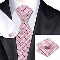 Подарочный мужской галстук розовый в полоску JASON&VOGUE