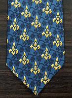 Галстук мужской синий с итальянской символикой ALSTOM
