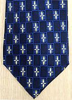 Галстук мужской синий с желтоватым узором ALSTOM