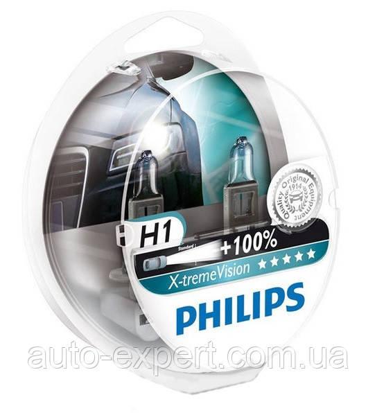 """Автомобильные галогенные лампы """"PHILIPS""""(H1)(X-treme Vision)(+100%)(12V)(55W)"""