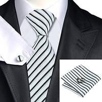 Галстук мужской подарочный черно-белый в полоску JASON&VOGUE