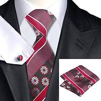 Галстук мужской красный в цветок +платок и запонки JASON&VOGUE