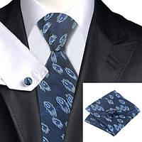 Галстук мужской синий с узором +платок и запонки JASON&VOGUE