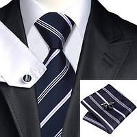 Галстук мужской подарочный цвета военно-морского флота JASON&VOGUE