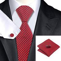 Подарочный мужской галстук красный в узорах JASON&VOGUE