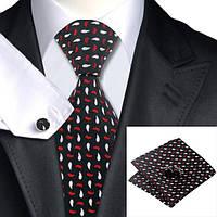 Подарочный мужской набор черный в красно-белую капельку JASON&VOGUE
