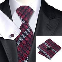 Подарочный мужской галстук красный с белым в узорах JASON&VOGUE