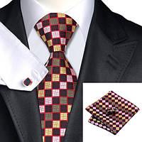Подарочный мужской галстук в разноцветный квадратик с красным JASON&VOGUE