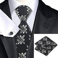 Галстук мужской черный в оригинальный цветок +платок и запонки JASON&VOGUE