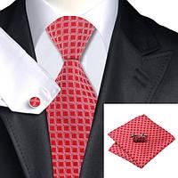 Подарочный мужской галстук красный с белым в квадратик JASON&VOGUE