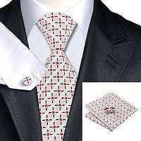 Подарочный мужской галстук белый с красным узором JASON&VOGUE