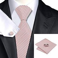 Подарочный мужской галстук белый с красным в полоску JASON&VOGUE